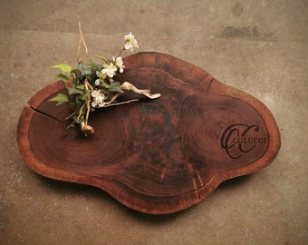 Personalized Cheese Board with a Rustic Live Edge
