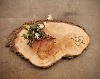 Very Rustic Live Edge *One of A Kind* Maple Personalized Cheese Board - #Q2D0421