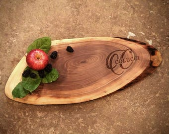 Personalized Cheese Board made from locally sourced Walnut and naturally rustic - perfect for tapas, charcuterie, and your favorite cheese