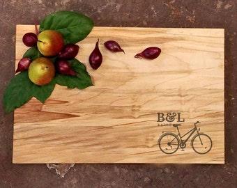 Personalized Cutting Board - Bicycle Wedding Cutting Board - Anniversary Cutting Board - Cycling Couple Cutting Board