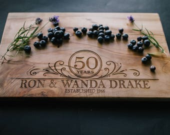 Wood Cutting Board with Anniversary Design