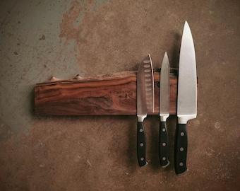 14 Inch Magnetic Live Edge Walnut Knife Holder - Wooden Magnetic Knife Rack - Personalized Engraving Optional