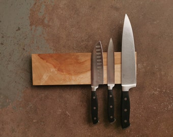 12 Inch Magnetic Maple Knife Holder - Wooden Magnetic Knife Rack - Personalized Engraving Optional