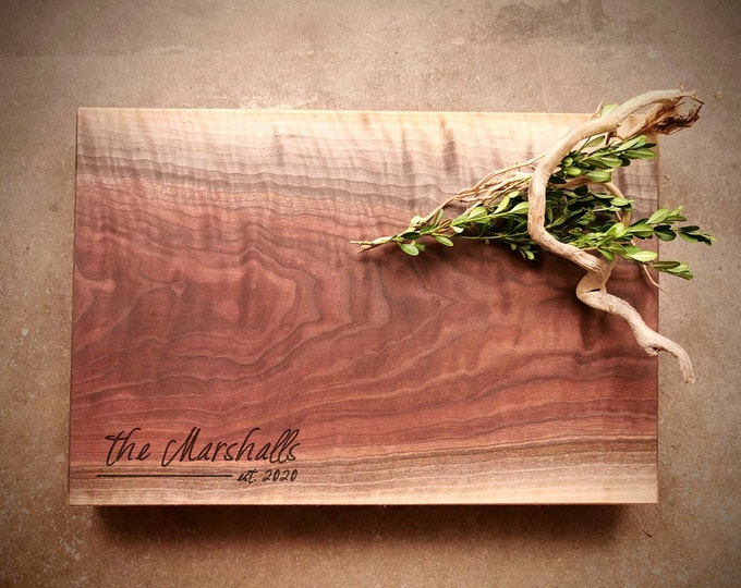 Featured listing image: Black Walnut Live Edge Personalized Cutting Board