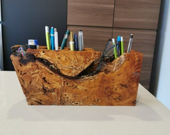 Wood Desk Organizer - Home Office Accessory