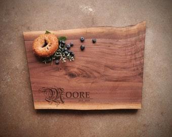 Black Walnut Live Edge Personalized Cutting Board
