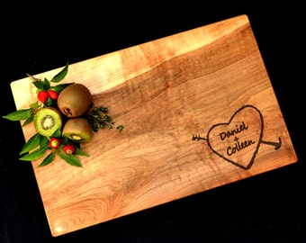 Personalized Cutting Board with Carved Heart Design