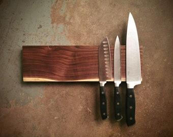 14 Inch Magnetic Walnut Knife Holder - Wooden Magnetic Knife Rack - Personalized Engraving Optional