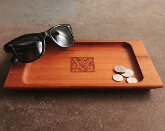 Personalized Valet Tray with Fancy Initial