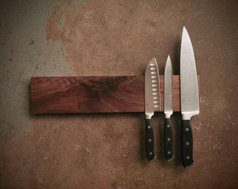 16 Inch Magnetic Walnut Knife Holder - Wooden Magnetic Knife Rack - Personalized Engraving Optional