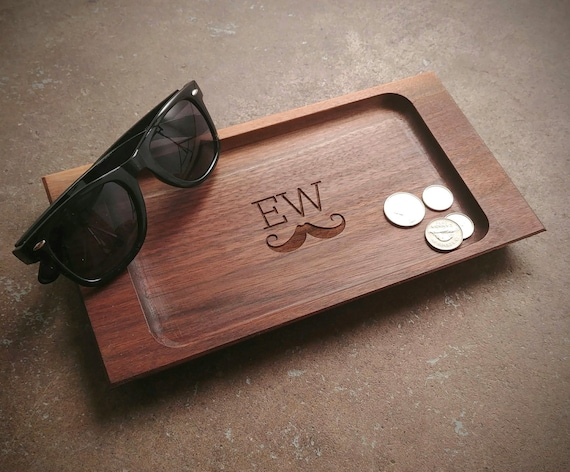 Personalized Valet Tray with Mustache Design