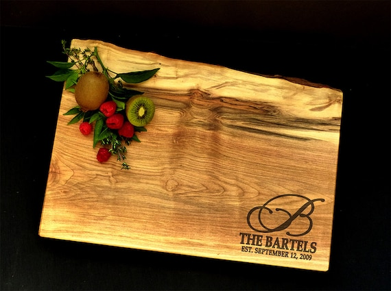 Personalized Cutting Board - Live Edge Solid Maple Cutting Board w/Feet -Wedding Cutting Board - 25th Anniversary Gift - Family Gift