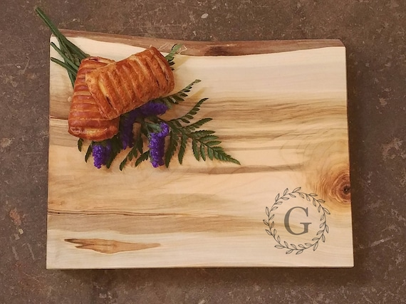 Thick Personalized Cutting Board - Live Edge Maple Cutting Board w/Feet  - Personalized Wedding Cutting Board - Personalized Maple Board