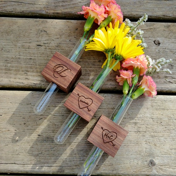 Personalized Gift for Her - Magnetic Wood Bud Vase Set of Three