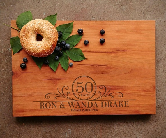 50th Wedding Anniversary Gift - Personalized Cutting Board Cherry - 25th Wedding Anniversary Gift - 5th Wedding Anniversary Gift - Handmade