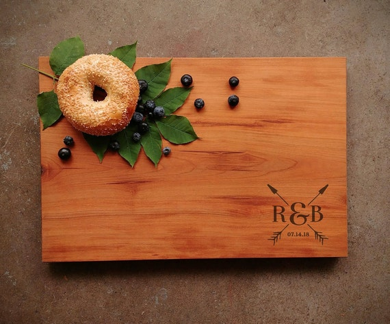 Wedding Gift for Couple - Personalized Cutting Board Cherry - 25th Wedding Anniversary Gift - 5th Wedding Anniversary Gift - Handmade