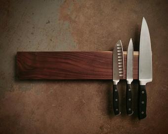 18 Inch Magnetic Walnut Knife Holder - Wooden Magnetic Knife Rack - Personalized Engraving Optional