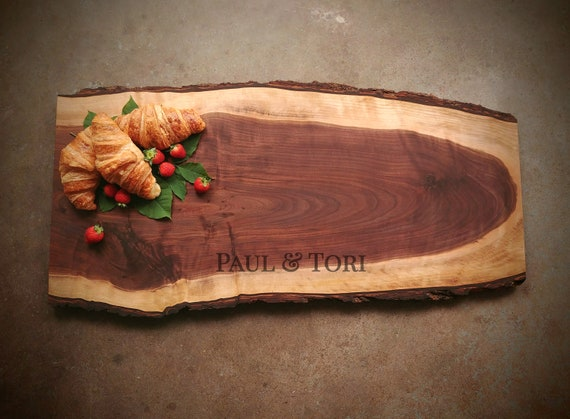 Live Edge Personalized Cutting Board - One of a Kind Cutting Board - Black Walnut - Personalized Wedding Gift