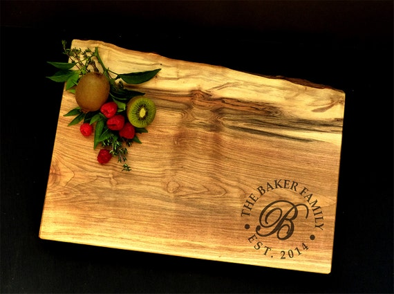 Personalized Cutting Board Live Edge Maple w/Feet - Wedding Board - Family Crest - Anniversary Board - Custom Cheese Board