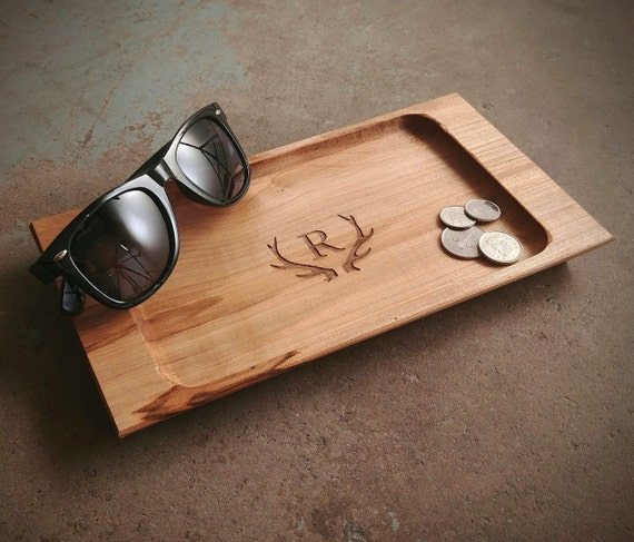 Personalized Valet Tray with Antler Design
