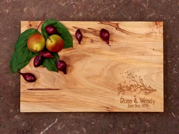 Personalized Cutting Board Spalted Maple Cutting Board Serving Tray Squirrel Tree Cutting Board Wedding Cutting Board Custom Cutting Board