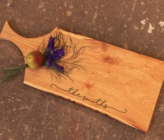 Personalized Cheese Board - Cherry Cutting Board with Handle - Wood Cutting Board - Wedding Cheese Board - Charcuterie Board