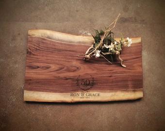 Personalized Cutting Board - Live Edge Walnut Cheese Board -  #Z5D0821