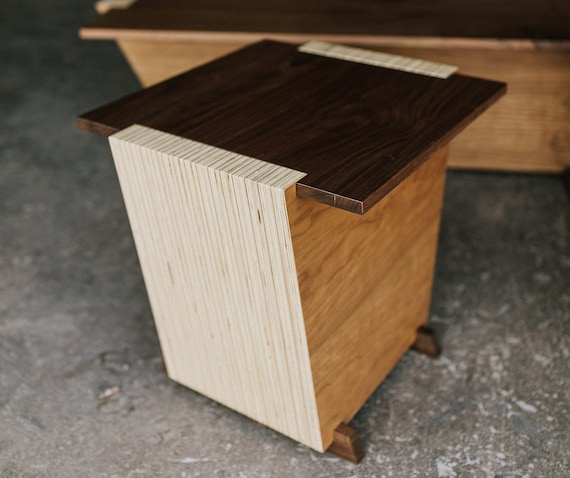 Contemporary Pair of Walnut End Tables by OSOhome