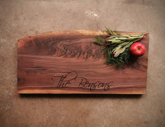 Black Walnut Live Edge Personalized Cheese Board