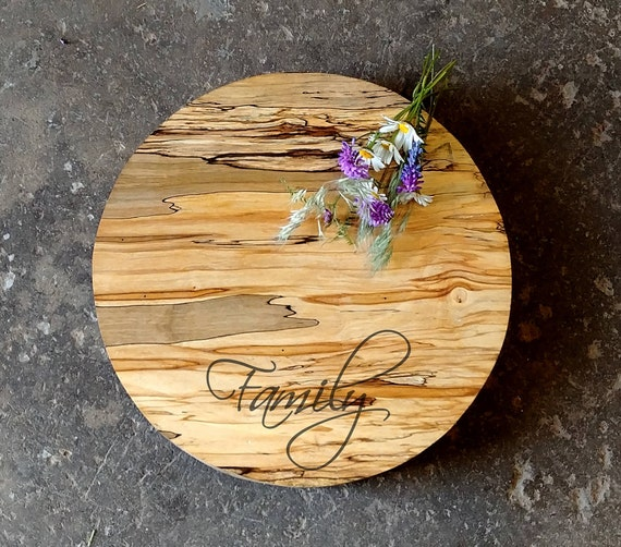 Personalized Spalted Maple Cheese Board Round 14.5 x 2 w/Non Skid Rubber Feet & Wood Butter, Wedding Cheese Board, Anniversary Cheese Board