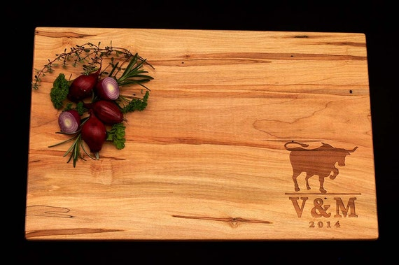 Personalized Cutting Board - Ranch Cutting Board - Engraved Cutting Board - Wedding Cutting Board - Bull Design Cutting Board