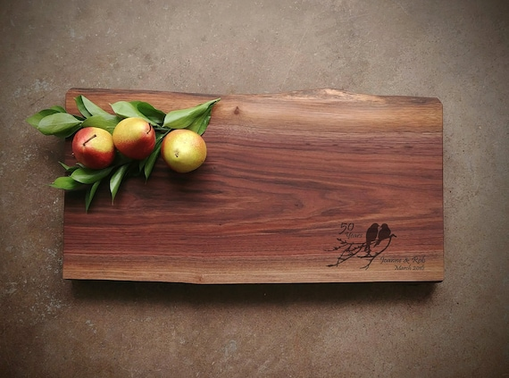Black Walnut Live Edge Personalized Cutting Board