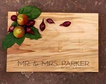 Personalized Cutting Board - Modern Design Board - Contemporary Cheese Board - Wedding Board - Mr. and Mrs. - Personalized Wedding Gift