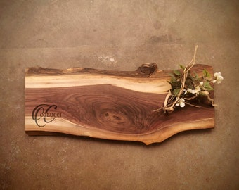 Personalized Cutting Board - One of a Kind Live Edge Walnut Cheese Board - #ZJS1021