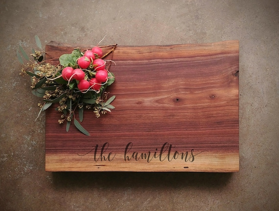 Black Walnut Live Edge Personalized Charcuterie Board