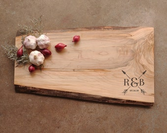 Large Live Edge Cutting Board *One of A Kind* Maple Personalized Board w/Feet & Wood Butter - Custom Wood Chopping Board