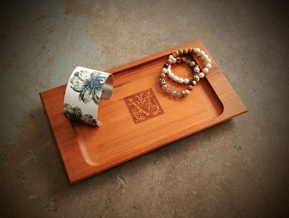Personalized Jewelry Tray with Fancy Initial