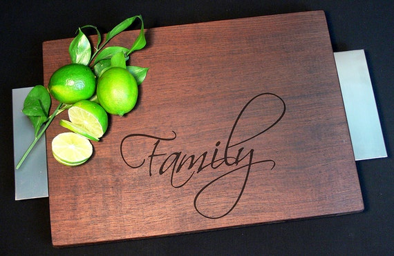 Personalized Modern Cutting Board w/ Brushed Nickel Handles and Non Skid Rubber Feet Walnut Wood Serving Tray Wedding Gift Anniversary Gift