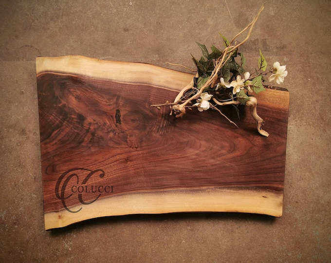 Featured listing image: Personalized Cutting Board - One of a Kind Live Edge Walnut Cheese Board - #ZKS0821