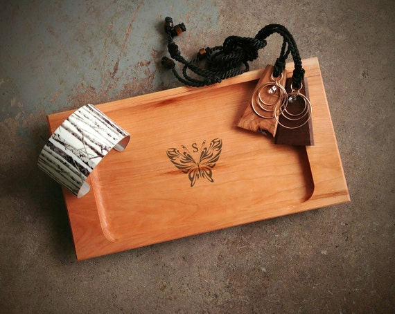 Personalized Wood Jewelry Tray with Butterfly Design