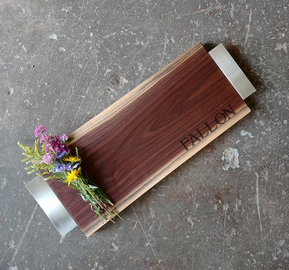 Personalized Cheese Board in Walnut w/Feet, Brushed Nickel Handles - Personalized Serving Tray - Personalized Wedding Board