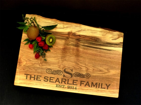 Personalized Cutting Board Live Edge Maple w/Feet by OSOhome - Wedding Cutting Board - Anniversary Cutting Board - Engraved Cutting Board
