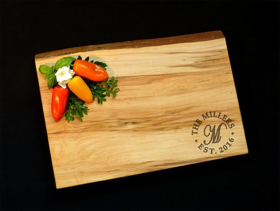 Personalized Wedding Gift - Solid Wood Cutting Board - Live Edge Maple w/Feet OSOhome 11 X 17 - Custom Wedding Cutting Board