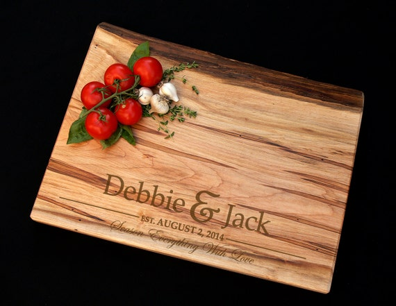 Personalized Cutting Board - Thick Live Edge Maple Cutting Board - Personalized Butcher Block - Personalized Wedding Board - Anniversary