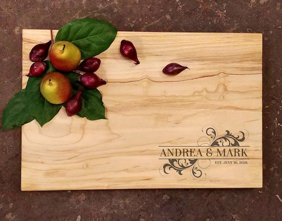 Personalized Cutting Board - First Names Wedding Design - Wedding Cutting Board - Engraved Cutting Board - Personalized Wedding Gift