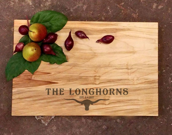 Personalized Cutting Board - Longhorn Wedding Board - Steer Wedding Board - Ranch Cutting Board - Country Rustic Cutting Board