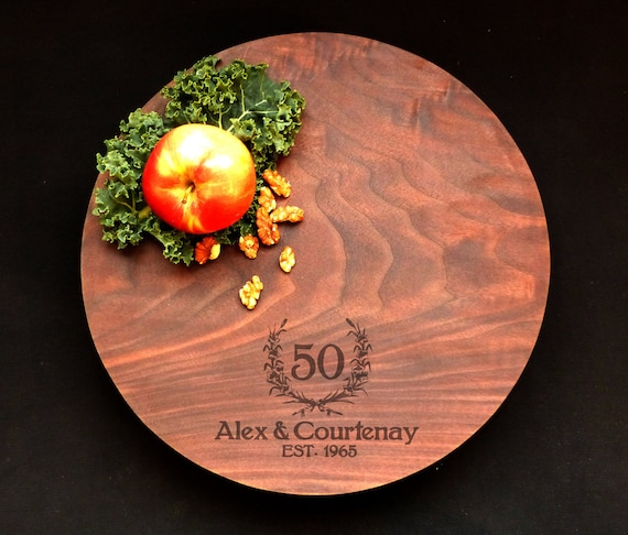 50th Anniversary Personalized Cutting Board Walnut Round 13x1.5 w/Feet & Wood Butter 25th Anniversary Gift