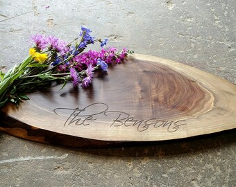 Personalized Cheese Board - Walnut Tree Slice - Live Edge Cutting Board - Rustic Wedding, Charcuterie, Tapas Board