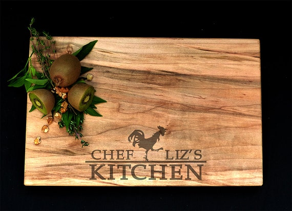 Personalized Cutting Board Maple OSOhome Serving Tray Custom Engraved Cutting Board Chicken Rooster Anniversary Gourmet Rustic Charcuterie