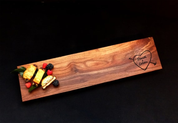 22x5 Walnut Charcuterie Personalized Cutting Board Euro Edge w/Feet & Wood Butter Gourmet Host Gift Sushi Board Cheese Board Tapas Board